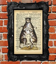 upcycled dictionary page book art, collage o rama, conjoined cats, cat Print, Downloadable, 8 by 10,  antique book page print on Etsy, $10.00 CAD