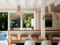 Open kitchen and dining Room: white wooden beams, Secto Victo 4250 lamps, big family table. Table, Family Table, Kitchen Design, Open Kitchen, Furniture, Wooden Beams, Beams, Kitchen Dining, Home Decor
