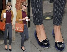 i really love these shoes. blue velvet and gold heels AND cat face? omg... charlotte olympia too cute.
