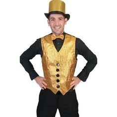 Glitter & Glamour themafeest: Gouden gilet voor heren. Dit gouden giletje is gemaakt van polyester. De voorkant is goud gekleurd en de achterkant zwart. De zakken aan de voorkant zijn nep.