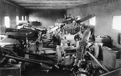 The interior of an armored train car at Chaplino in the Dnipropetrovs'ka oblast of the Ukraine in the spring of At least nine heavy Maxim machine guns are visible, as well as many ammunition cases. Via Tassos S and The Atlantic World War One, First World, Old World, Granada, American Civil War, American History, Heavy Machine Gun, Machine Guns, Southern Methodist University