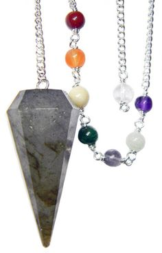 """Beautifully crafted Labradorite Chakra Pendulum with chakra beads on a 6"""" silver chain ( total length 8""""). Labradorite is the gemstone for Psychic Wisdom. Comes with satin carry pouch and instruction"""