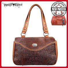 TR26G-L8247 Montana West Trinity Ranch Tooled Design Collection Handbag-Brown - Shoulder bags (*Amazon Partner-Link)