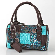 Donna Sharp Sammie Quilted Patchwork Barrel Bag 22 00 Have This One In A Different Style Love The Browns Turq Colors Together