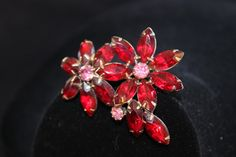 1950 Ruby Red and Pink Rhinestone Flower by SomeLoveItVintage