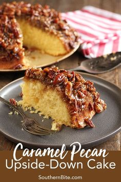 No one will believe that this recipe for Caramel Pecan Upside-Down Cake started with a boxed cake mix! No one will believe that this recipe for Caramel Pecan Upside-Down Cake started with a boxed cake mix! Köstliche Desserts, Delicious Desserts, Dessert Recipes, Dessert Healthy, Desserts With Pecans, Recipes Dinner, Recipes With Pecans, Breakfast Recipes, Food Cakes