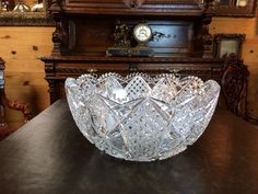 Monumental Huge American Brilliant Cut Glass Lead Crystal Punch Bowl Rare