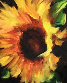 Sundance Sunflower, 6X8, Oil on Linen Board. www.nancymedina.com