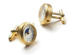 Gold Sun and Moon Watch Cuff Links
