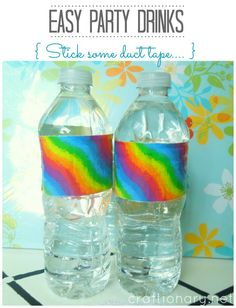Duct-tape-bottles. What a great idea. So easy. And duct tape comes in so many cool options now. You can customize any event!