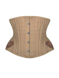 Walkingon Linen Embroidery Steel Boned Waist Training Underbust Corsets