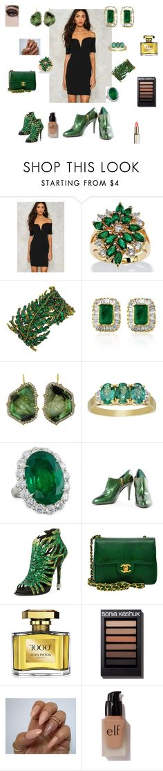 """""""Emeralds"""" by rikkkk ❤ liked on Polyvore featuring Nasty Gal, Palm Beach Jewelry, Effy Jewelry, Sylva & Cie, Diana M. Jewels, Sergio Rossi, Roger Vivier, Chanel, Jean Patou and e.l.f."""