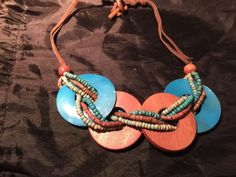 Vintage Wooden Large Round With Micro Beads On Leather  Necklace
