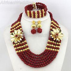 6 Rows African Nigerian Wedding Coral Beaded Jewelry Set,African Nigerian Wedding Coral Beads Necklace Set,Coral Beads Necklace Set.$57.8