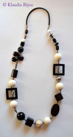 Black Onyx and White Coral Elegant necklace. This by Klaudiabijou, €80.00