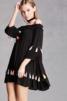 FOREVER 21+ Tasseled Off-the-Shoulder Dress