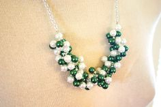 Green & White Pearl Necklace / Eastern Michigan by PolkaDotDrawer, $19.90 @Miguel Coder @Michigan State Spartans #michiganstate