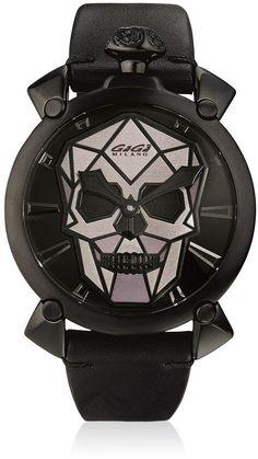 Bionic Skull Black Steel Watch