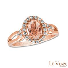 Le Vian® Oval Morganite and 1/4 CT. T.W. Diamond Frame Ring in 14K Strawberry Gold®