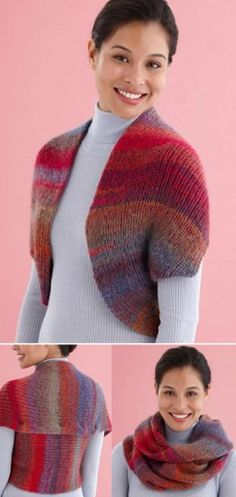 Free knitting pattern for Convertible Shrug Cowl With Lion Brand yarn, affordable! Shrug Knitting Pattern, Knit Shrug, Knitted Shawls, Loom Knitting, Knitting Patterns Free, Knit Patterns, Free Knitting, Baby Knitting, Free Pattern