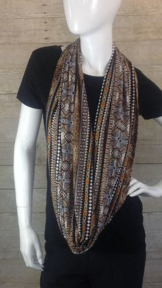 Brown and Black Infinity Scarf by DeZeStar on Etsy