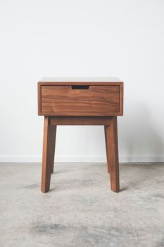 Solid Walnut Ventura Nightstand / Bedside Table - Tapered Leg by hedgehouse on Etsy https://www.etsy.com/listing/100358586/solid-walnut-ventura-nightstand-bedside