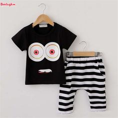 Kids Clothes sets 2017 Summer Baby Boy Clothes Cotton 16 Color Print T-shirt + Plaid Pants Children Toddler Girl Clothing set