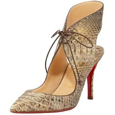 Pre-owned Christian Louboutin Franca Tie-front Red Sole Pump, Taupe... ($894) ❤ liked on Polyvore featuring shoes, pumps, gold shoes, lace up pumps, wide pumps, pointed toe pumps and christian louboutin shoes