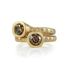 The Winners of the 2014 Jewelers' Choice Awards: Colored Diamond Jewelry Under $2,500 - 18k hand-hammered gold ring with cognac diamonds; $2,400 (per ring); Dorian  & Rose, Los Angeles; 213-622-8480; dorianandrose.net