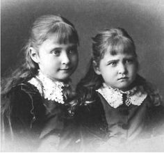 Princess Alix of Hesse and her younger sister May: 1878.  Alix became Tsarina Alexandra married to Nicholas II Romanov