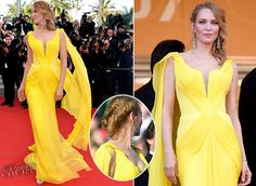 Uma Thurman wearing Atelier Versace at the 'Clouds of Sils Maria' premiere, 2014 Cannes Film Festival. We are SO not worthy. Damn.