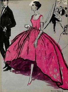 Glamourous dress illustrated in a page from 1957 issue of L'officiel