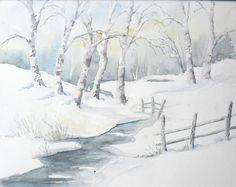 Wintertag - Aquarell - Original - 24 x 30 cm