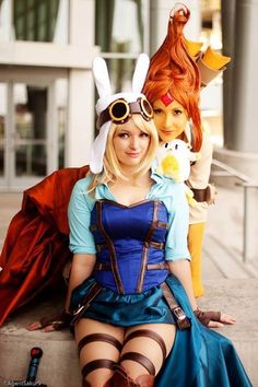 Steampunk'd Fionna and Flame Princess (Adventure TIme) cosplay. THIS... IS... AWESOME!!!!