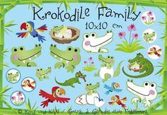 10 x 10 Stickdateien Krokodile Family Set von kindundkegel-shop auf DaWanda.com