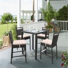 Tropez Outdoor Patio Wicker Bar Set (Table w/ 4 barstools) - Armen Living SETODTRBEThe Armen Living Tropez contemporary outdoor wicker bar set is a great purchase for anyone looking to enhance the comfort and style of their modern household patio. Patio Bar Table, Outdoor Patio Bar Sets, Outdoor Balcony, Patio Chairs, Outdoor Decor, Balcony Bar, Modern Patio, Contemporary Patio, Patio Furniture Sets