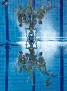 Team Ukraine is seen underwater