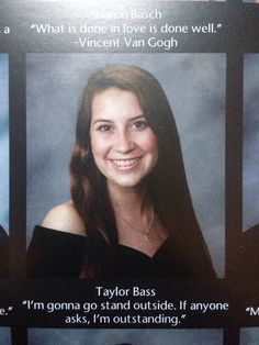 Nov 2019 - What your yearbook quote says about you? 55 hilarious examples to share with your friends to get the most funny yearbook quotes ever! Best Senior Quotes, Senior Year Quotes, Senior Yearbook Quotes, Graduation Quotes Funny, Senior Qoutes, Graduation Speech, Yearbook Photos, Graduation Caps, Stupid Funny Memes