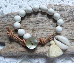 beachcomber gypsy mermaid bracelet  cowrie shell tassel bracelet by beachcomberhome, $28.00