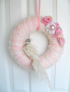 love this - vintage style pink tulle wreath with flowers and bird Pink Wreath, Tulle Wreath, Door Wreath, Summer Christmas, Christmas Crafts, Christmas Ornaments, Merry Christmas, Xmas, Wreaths And Garlands