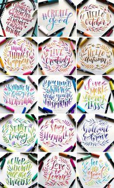 Brush Lettering Quotes, Hand Lettering Alphabet, Lettering Design, Cute Doodle Art, Cute Doodles, Letter Art, Letters, Cute Qoutes, How To Write Calligraphy