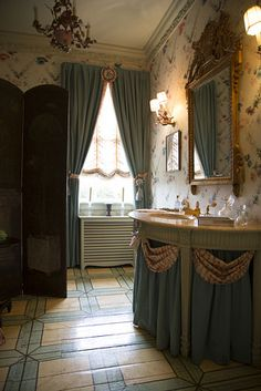 Victorian simple panels at windows w/ matching sink drapery (A Family Home Since 1822)