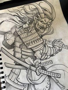 follow @mike_tattoo on Instagram #samurai #samuraisketch #demonsamurai #sketch #sketches #japanesetattoo #japanesetattoosketches