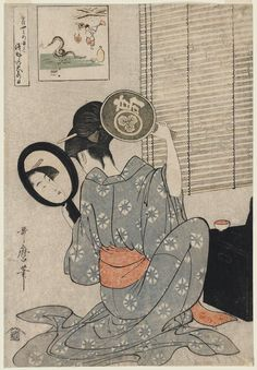 "vintage geisha art: Kitagawa Utamaro (Japanese: 喜多川 歌麿; ca1753 – 31 October 1806) ""Takashima Ohisa using two mirrors to observe her coiffure night of the Asakusa Marketing Festival"" • ukiyo-e genre of woodblock prints, famous for bijin-ga (female beauties) + nature studies (esp. insect books) influenced the European Impressionists"