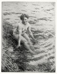 The bather, seated; etching by  Anders Zorn.    From Prints and their makers, by Fitzroy Carrington, London, 1913.    (Source: archive.org)