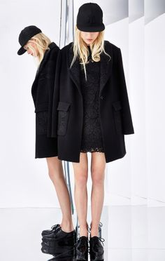 Black lace mini #dress + cape hat + coat + creepers DKNY Resort 2015 #Resort15  #lbd