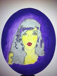 Vibrante retrato con acrílico sobre lienzo.