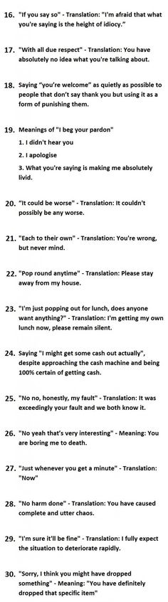 Brit Humour: 30 Things British People Say Vs What They Actually Mean - Graphic (Part 2)