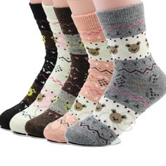 a9c2569dd3e74 Buy Women Winter Warm Cartoon Thicken Sweet Little Bear Pattern Wool Long  Soft Socks at Geek - Smarter Shopping. Socks Sphere