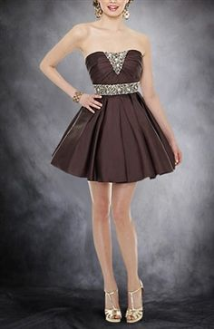 Sleeveless A-line Strapless Short Beading Cocktail Dresses - OuterInner.com
